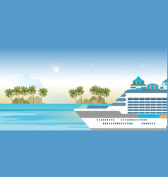 cruise ship sailing on blue water vector image