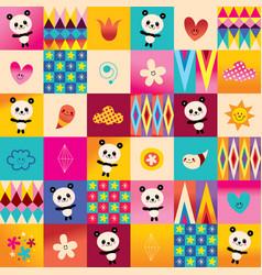cute baby panda bears kids pattern vector image