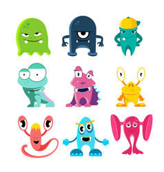 Cute cartoon monsters of vector