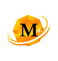 diamond swoosh initial m vector image vector image