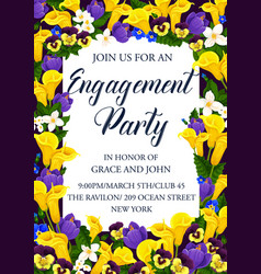 Engagement party invitation with flower frame vector