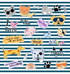Fashion patch badges Cats and dogs set Stickers vector image