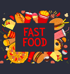 Fastfood meaks and snacks poster menu vector
