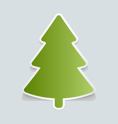 Fir-tree sticker with shadow christmas tree happy vector