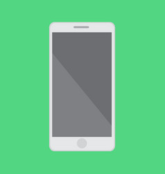 Flat smartphone with isolated green background vector