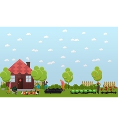 Gardeners working in the garden horticulture vector