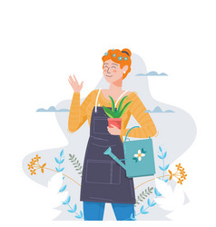 gardeningwoman with flower and watering can vector image