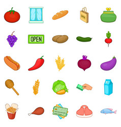 gastronomy shop icons set cartoon style vector image