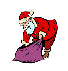 gift bag santa claus character year vector image