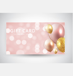 gift card template with balloons vector image