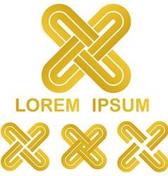 Golden curved stripes link logo set vector