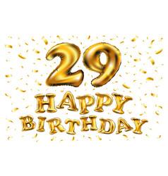 golden number 29 twenty nine metallic balloon vector image