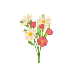 gorgeous bouquet of spring flowers with green vector image