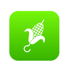 Grilled corn cob icon digital green vector