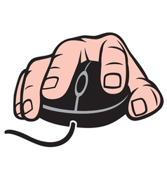 hand and computer mouse vector image vector image