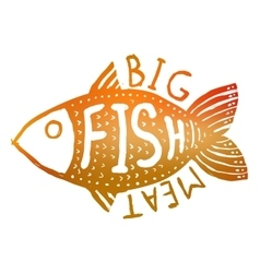 Hand drawn grunge fish Hipster silhouette Hand vector