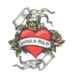 Hand drawn mom and dad tattoo vector
