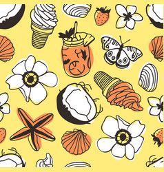 hand drawn summer seamless pattern with coconut vector image