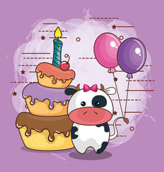 happy birthday card with bear teddy vector image