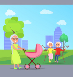 happy grandparents day senior couple on bench vector image