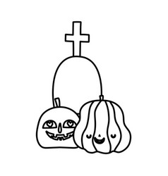 happy halloween celebration pumpkins gravestone vector image