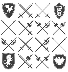 Heraldic Armory Graphic Icons Set vector