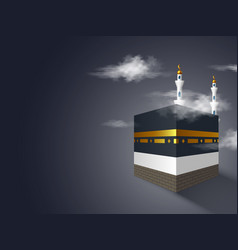 Holy kaaba with mosque in clouds vector