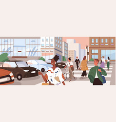 horizontal cityscape with people crossing road at vector image