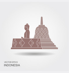 Indonesian borobudur ancient temple flat icon vector