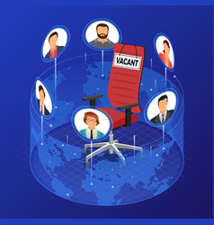 isometric job agency employment and hiring concept vector image