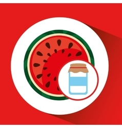 Jar cute blue with jam watermelon graphic vector