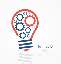 light bulb idea icon with gears inside vector image