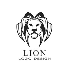 lion logo black and white design element for vector image