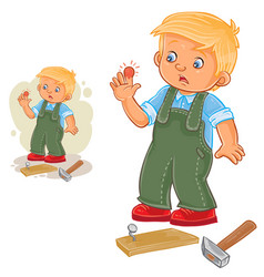 Little boy hammering a nail and bruised vector