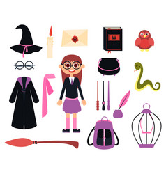 little girl wizard vector image