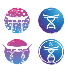 logo design dna colorful on white bac vector image