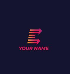 logo mark design e letter with arrows vector image