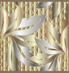 luxury textured 3d gold silver baroque seamless vector image