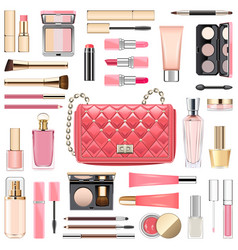 Makeup cosmetics with pink handbag vector