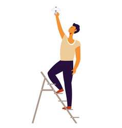 Man repairing and fixing problems at home handyman vector