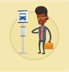 man waiting for bus at the bus stop vector image