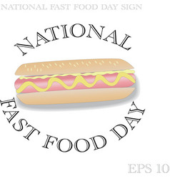 national fast food day sign vector image