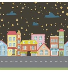 Night seamless cartoon town vector