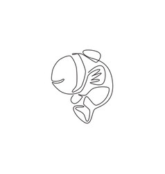 one single line drawing cute clownfish vector image