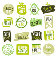 Organic food labels natural meal and fresh vector