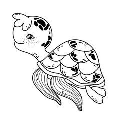 Outline cute turtle wild sea animal vector