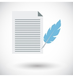Paper and bird feather pen vector