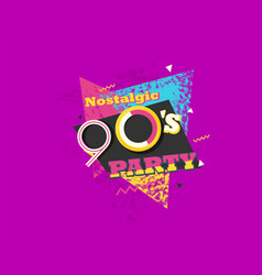 Party time 90s style label retro background vector