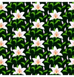 Pattern with lily flowers vector