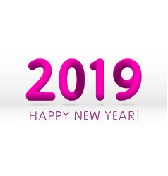 pink 2019 symbol happy new year isolated on white vector image